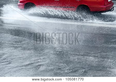 Splashes By Car Through Flood Water