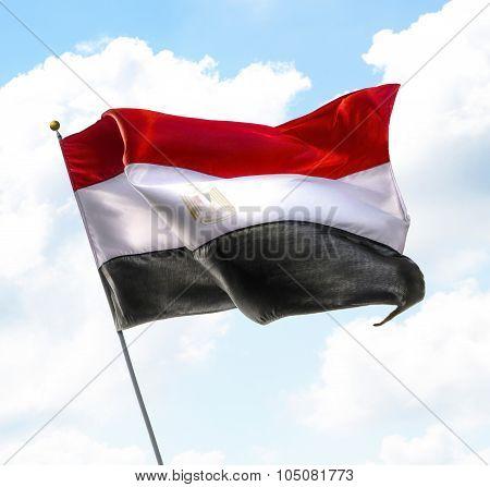Flying Flag Of Egypt