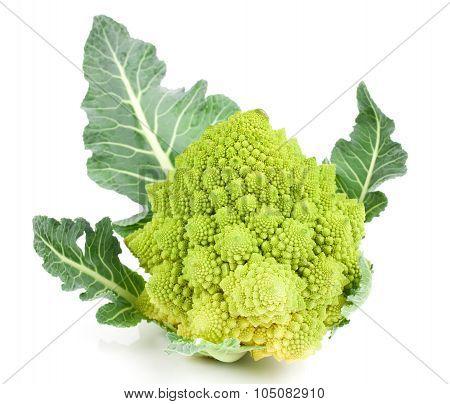 Rare Broccoli. Romanesco Broccoli Cabbage, Isolated On White Background