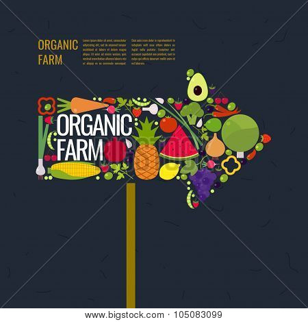 Organic Farm. Arrow Marker. Fruits And Vegetables.