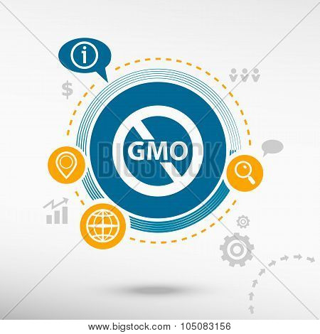 Without Genetically Modified Food Symbol And Creative Design Elements