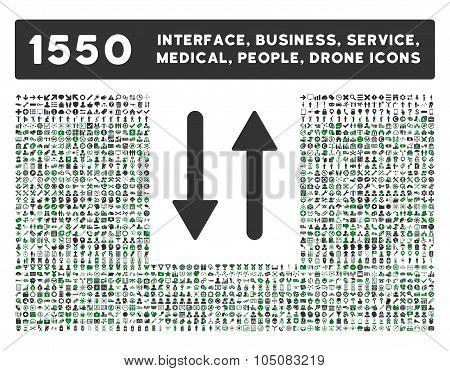Arrows Exchange Vertical Icon and More Interface, Business, Tools, People, Medical, Awards Flat Glyp