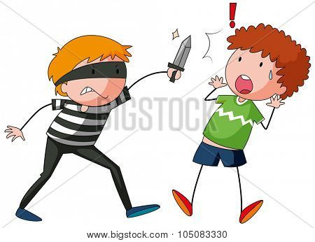 Robber is threatening a man illustration