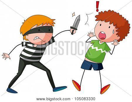 Robber is threatening a man illustration