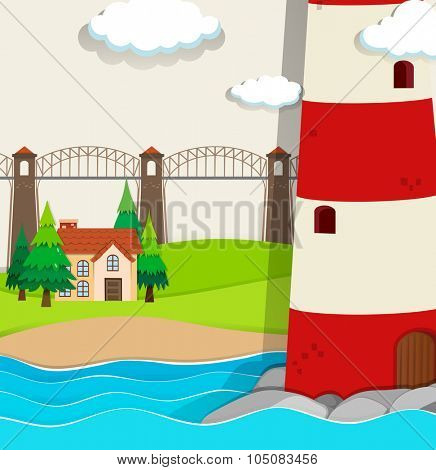 Nature scene with lightwave and house by the beach illustration