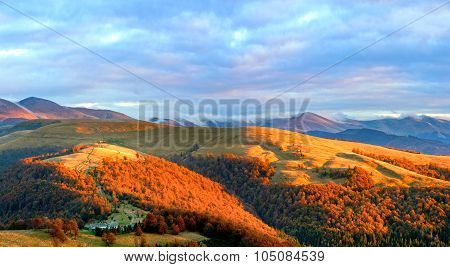 Autumn Evening Mountain Plateau Landscape