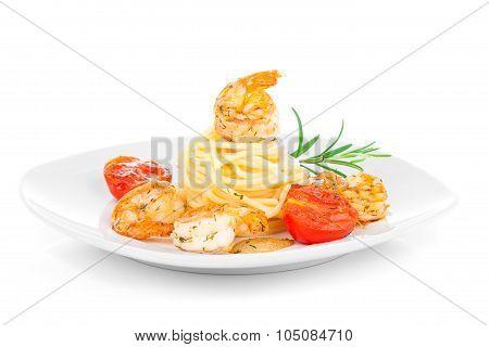Shrimp Linguine With Pasta. Focus On Shrimp.