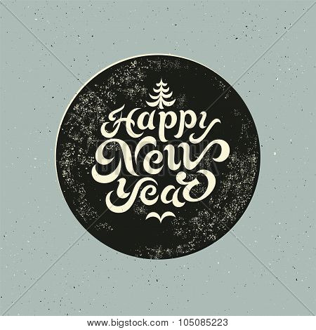 Calligraphic retro Christmas card design with letterpress effect. Grunge vector illustration.