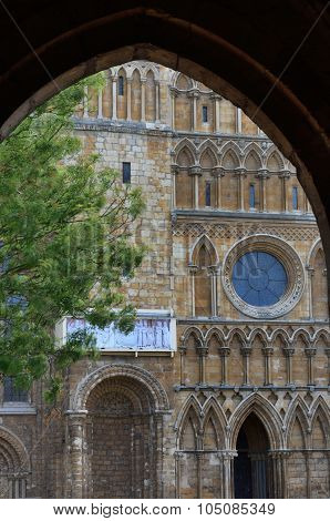 Detail of  english Cathedral through large  archway