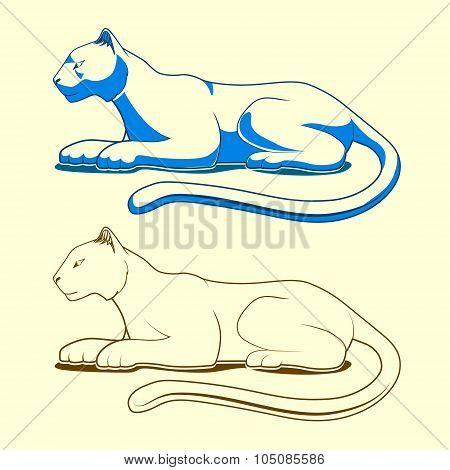 Panther emblem vector illustration color version