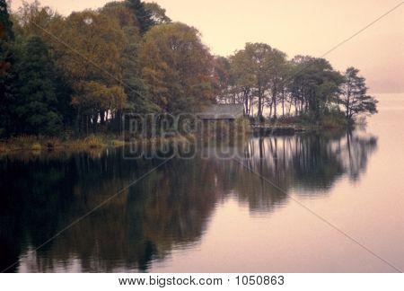 Lago reflexión árboles Sunrise