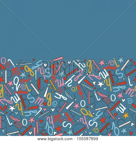 Horizontal Seamless Pattern Of Letters