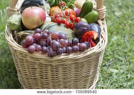 Basket With Fruit And Vegetables
