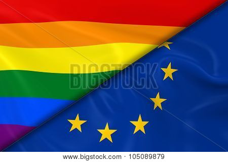 Flags Of Gay Pride And The Eu Divided Diagonally - 3D Render Of The Gay Pride Rainbow Flag And The E