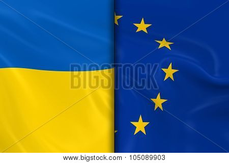 Flags Of Ukraine And The European Union Split Down The Middle - 3D Render Of The Ukrainian Flag And