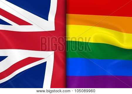 Flags Of Gay Pride And The Uk Split Down The Middle - 3D Render Of The Gay Pride Rainbow Flag And Th
