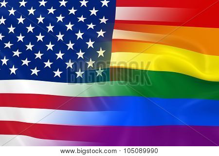 Gay Pride In America Concept Image - Gay Pride Rainbow Flag And The United States Flag Fading Togeth