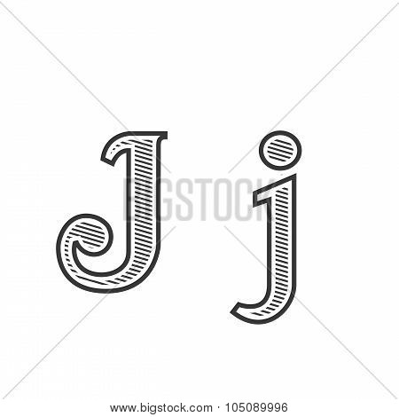 Font tattoo engraving letter J with shading
