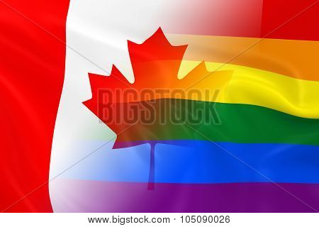 Gay Pride In Canada Concept Image - Gay Pride Rainbow Flag And The Canadian Flag Fading Together