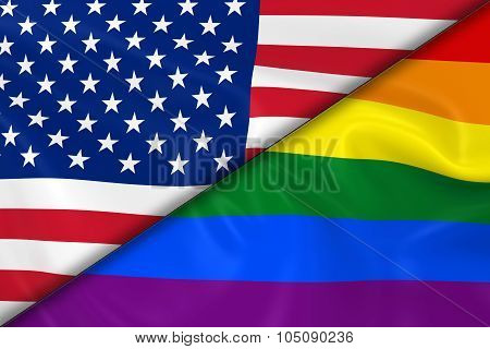 Flags Of Gay Pride And The Us Divided Diagonally - 3D Render Of The Gay Pride Rainbow Flag And The U