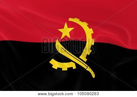 Waving Flag Of Angola - 3D Render Of The Angolan Flag With Silky Texture