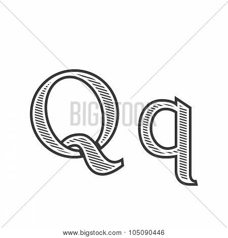 Font tattoo engraving letter Q with shading
