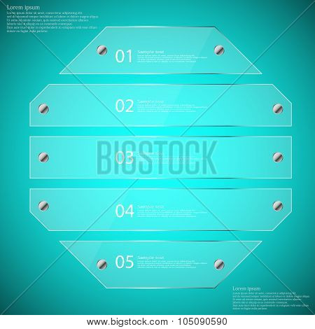 Glass Octagon Divided To Five Parts Infographic Template On Blue
