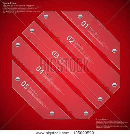 Glass Octagon Divided To Five Parts Infographic Template On Red