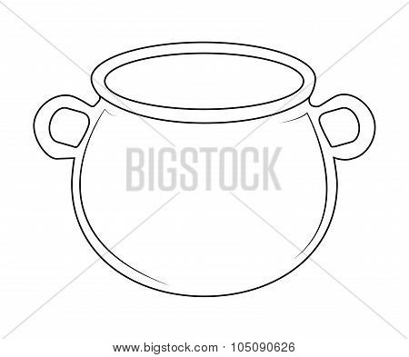 Empty Witch Cauldron, Pot Outline. Vector Illustration Isolated On White Background.