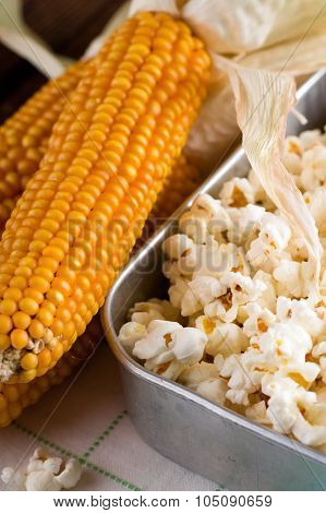 Golden Corncob Next To Pan With Popcorn