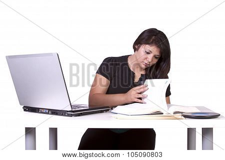 Beautiful Woman Working On Her Laptop