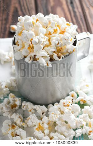 Salty White Popcorn In Old Cup