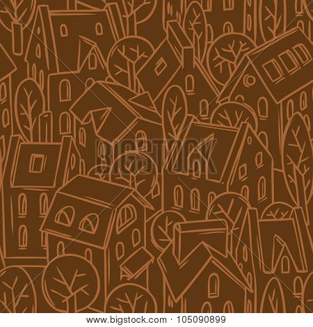 City seamless pattern with roofs