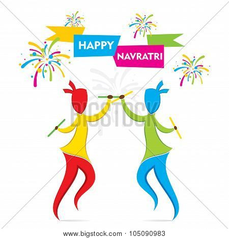 navratri festival with dancing garba design