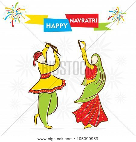 celebrate navratri festival with dancing design