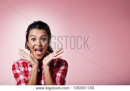 Surprise Astonished Beautiful Mixed Race Woman. Closeup Portrait Woman Surprised In Full Disbelief O