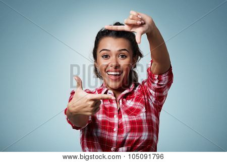 Gesturing Finger Frame. Portrait Of Handsome Beautiful Young Mixed Race Woman Looking At Camera And