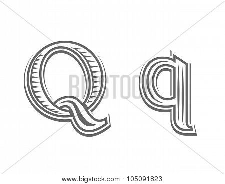 Font tattoo engraving letter Q
