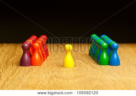 Concept Team, Leader, Leadership, Adoration Yellow Pawn