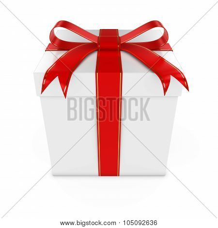 White Present Tied With A Red Bow With Gold Stripes - 3D Render Of A White Gift Box With Gold And Re