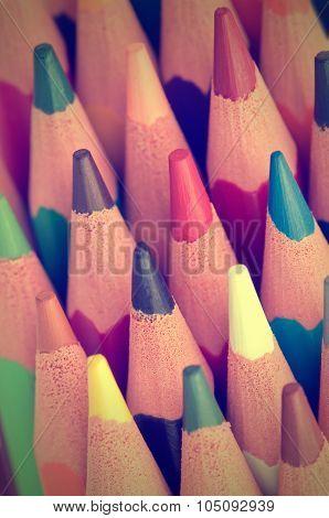 close view of colour pencils