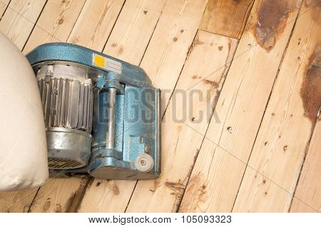 Old Plank Floor And Grinding Machine With Copy Space