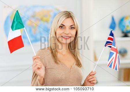 Nice girl preparing to travel