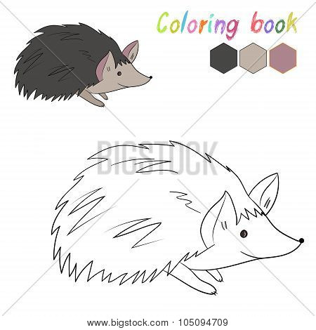 Coloring book hedgehog kids layout for game