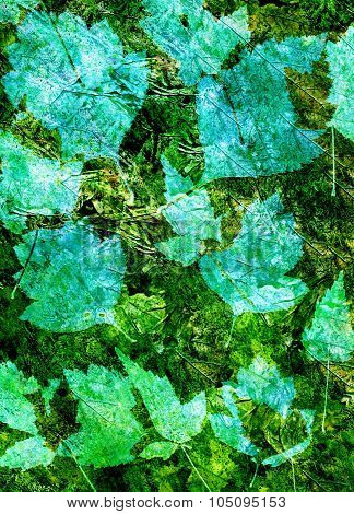 Abstract watercolor background and leaves. Mixed media