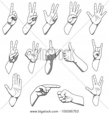 Different hands gestures