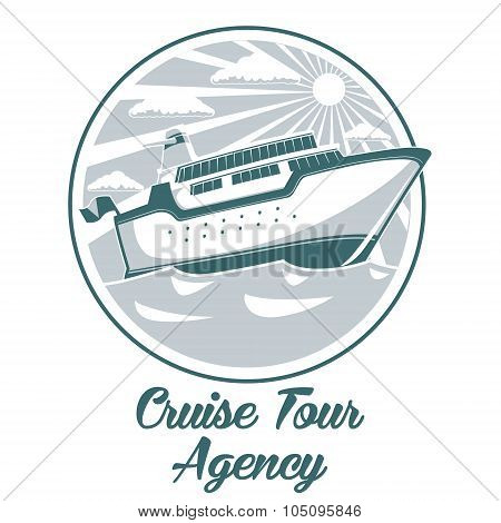 Cruise tour agency logo design with liner ship