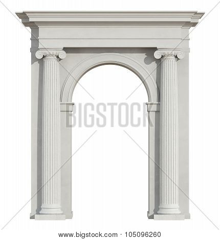 Front View Of A Classic Arch On White