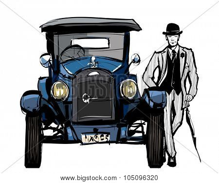 Vintage blue car  - vector illustration