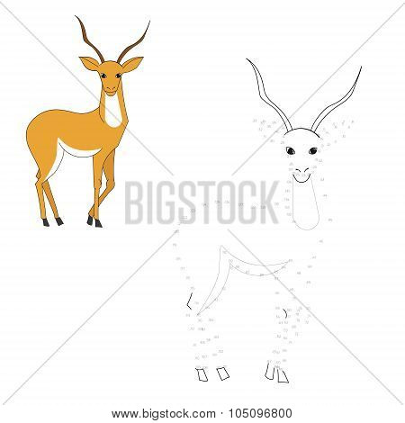 Connect the dots game gazelle vector illustration
